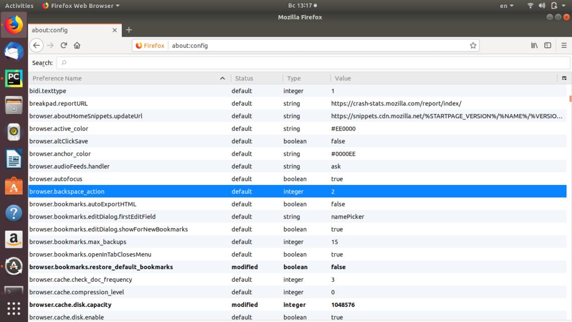 Включить в Firefox Backspace в Ubuntu и других дистрибутивах